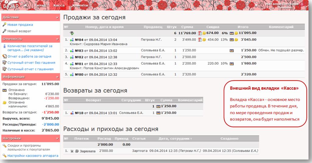 "Интерфейс кассы ""Базар-Онлайн"""